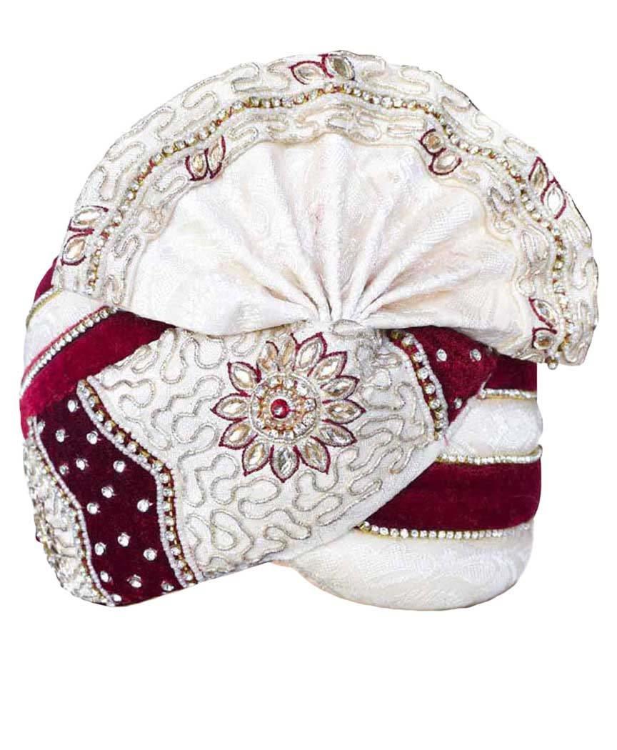 INMONARCH Mens Wedding Turban Pagari Safa Groom Hats TU1069 22-Inch Cream-Maroon