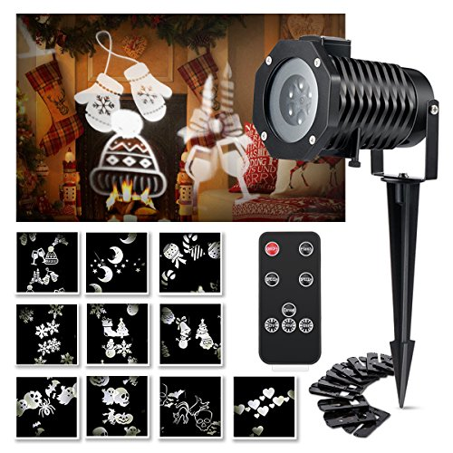 Walmart Led Christmas Lights - Christmas Projector Light, Wrcibo Christmas Light Projector LED Lights with Remote Control 10 Patterns Garden Lamp Landscape Light Waterproof for Outdoor Indoor Holiday Decoration Party