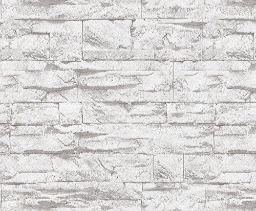 3D Brick Stone Wallpaper Gray Fire Retardant Décor 57 Square Feet Realistic Wall Murals Room Home Decoration 20.8'' x 393.7'' by Anro