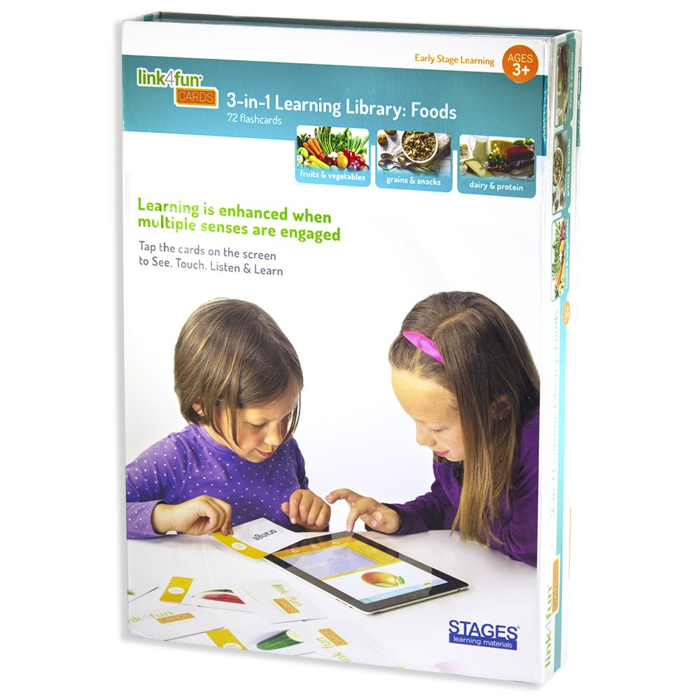 Stages Learning Materials Link4Fun Foods Master Pack of Interactive Flashcards for iPad Preschool Language Builder Cards for Vocabulary, Reading, Autism Education