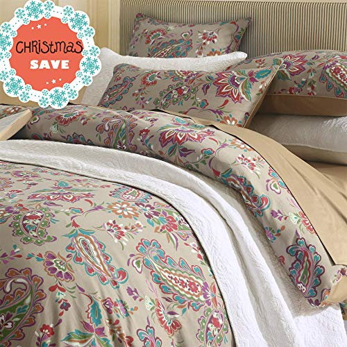 Paisley Chic (Brandream Super Soft Egyptian Cotton Bedding Sets with Button Closure 3PC Duvet Cover Set-Includes Quilt Cover and Two Pillow Shams Chic Paisley Regal Themed Design Queen)