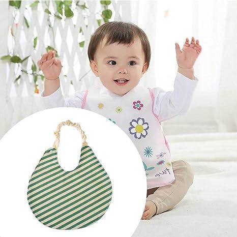 silveroneuk Infant Baby baberos delantal impermeable redondo banda elástica algodón toalla de saliva Green stripes