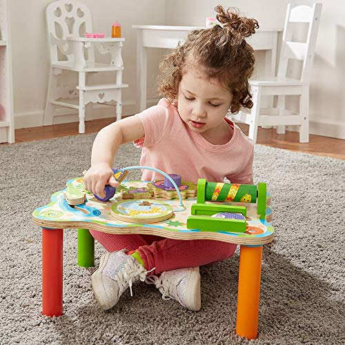 Melissa & Doug First Play Jungle Wooden Activity Table (Baby & Toddler Toy, Sturdy Wooden Construction, Helps Develop Fine Motor Skills, 11H X 12 W X 17 L)