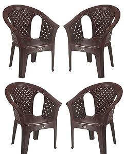 Supreme Grand Sofa Plastic Chair (Globus Brown)(Set of 4)