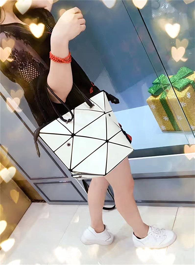 Women Baobao Geometry Sequins Mirror Saser Plain Folding Bags Changeable Handbag Casual Tote Bao Bucket Bag