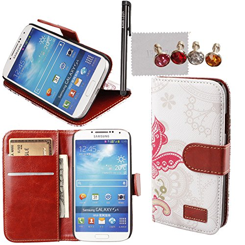xhorizon TM New Floral Leaf Style Wallet Folio Flip Magnet Stand Leather Case Cover with Credit Card Holder for Apple iPhone 4S 5S Samsung Galaxy S3 S4 S5 Note N7100 N9000 with stylus and xhorizon cleaning cloth (I Phone 4s Cases With Card Holder)
