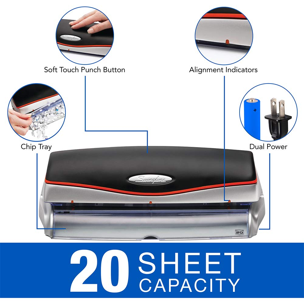 Swingline Electric 3 Hole Punch, Hole Puncher, Optima 20, 20 Sheet Punch Capacity, Silver (74520) by Swingline (Image #2)