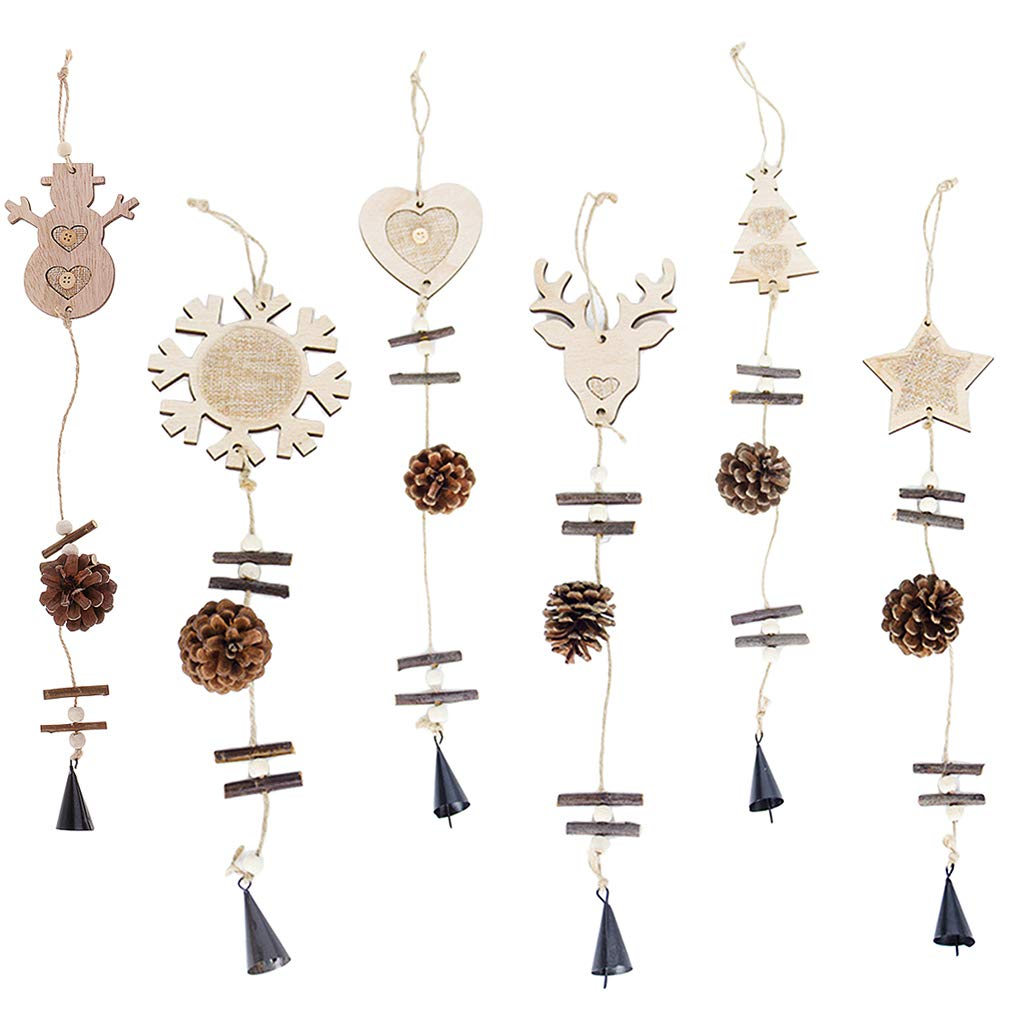 SM SunniMix 6 Pieces Wood Christmas Pine Cone Snowman Snowflake Star Elk Hanging Decoration Pendants Ornament for Home Garden Xmas Holiday Party Decoration 45cm
