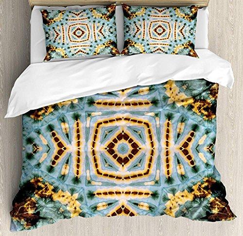 VCFUN Family Comfort Bed Sheet Hippie Close Hippie Kaleidoscope Motif Maya Clan Figures Dirt Tones Counter Culture Yellow Blue, 4 Piece Bedding Sets Duvet Cover Oversized Bedspread, King Size ()