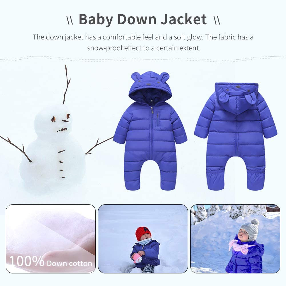 Ladysen Baby Toddler Snowsuit Jumpsuit Outerwear Romper Cartoon Bear Rompers Hoodie Jumpsuit
