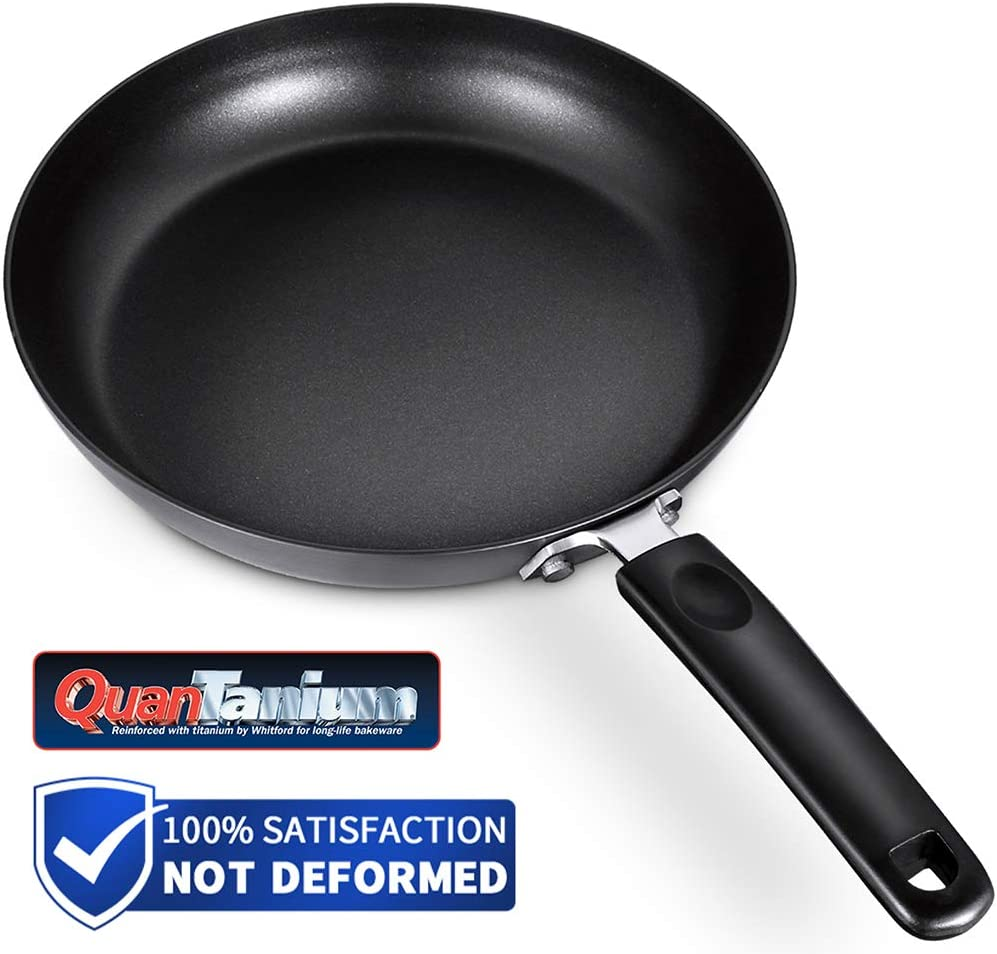 SKY LIGHT Frying Pan Nonstick, 9.5 inch Omelette Fry Pan, Stir-Fry Woks with Heat Resistant Handle, Hard Anodized Aluminum, 3mm Thickness No-Warp, Dishwasher Safe