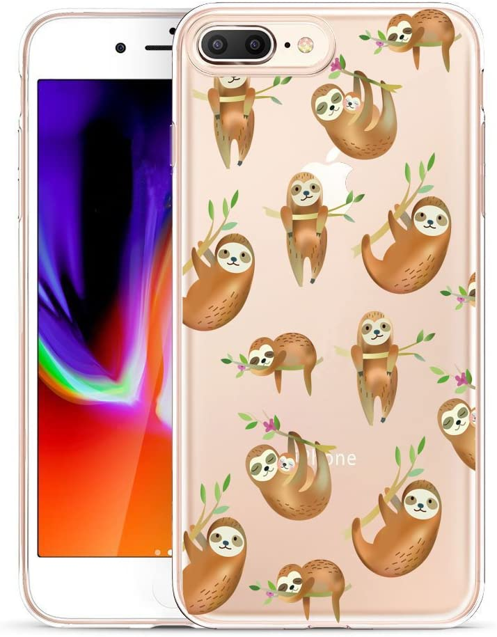 Unov Compatible Case Clear with Design Embossed Pattern TPU Soft Bumper Shock Absorption Slim Protective Case for iPhone 7 Plus iPhone 8 Plus 5.5 Inch(Hanging Sloth)