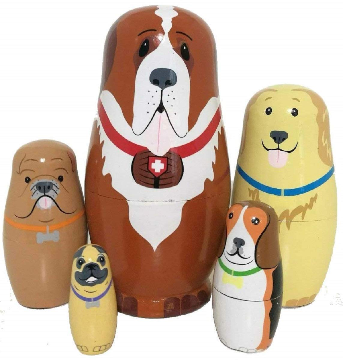 5pcs Cute and Funny Wooden Dog Stacking toys Russian nesting dolls Matryoshka gifts for kids Multicolor