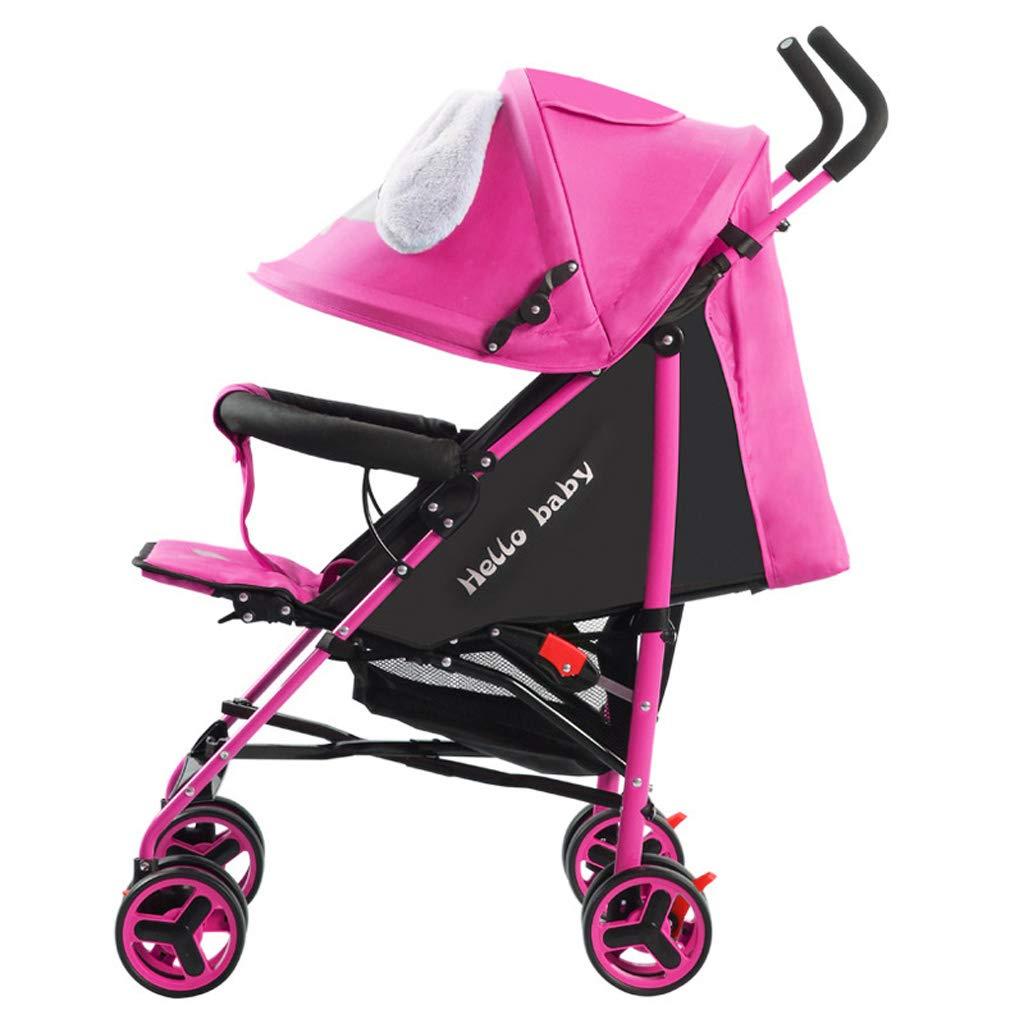 オールインワンベビーカーベビーカー軽量四輪折りたたみ幼児旅行バギー調整可能なジョガートラベルシステム最大25 kg、かわいい漫画  Pink B07PJNGQ2G