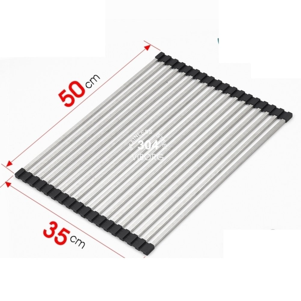 Sink dish drying rack,Stainless steel kitchen sink drain basket collapsible drain roller shutter shelf insulation pad-D