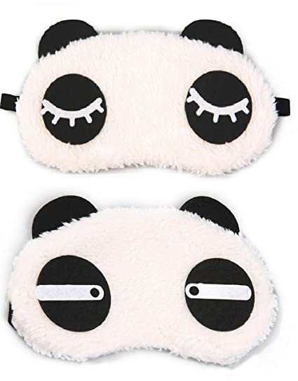 5f7eda75be2 Buy Jenna Straight Eyelashes Panda Sleeping Eye Mask White (Pack of 2)  Online at Low Prices in India - Amazon.in