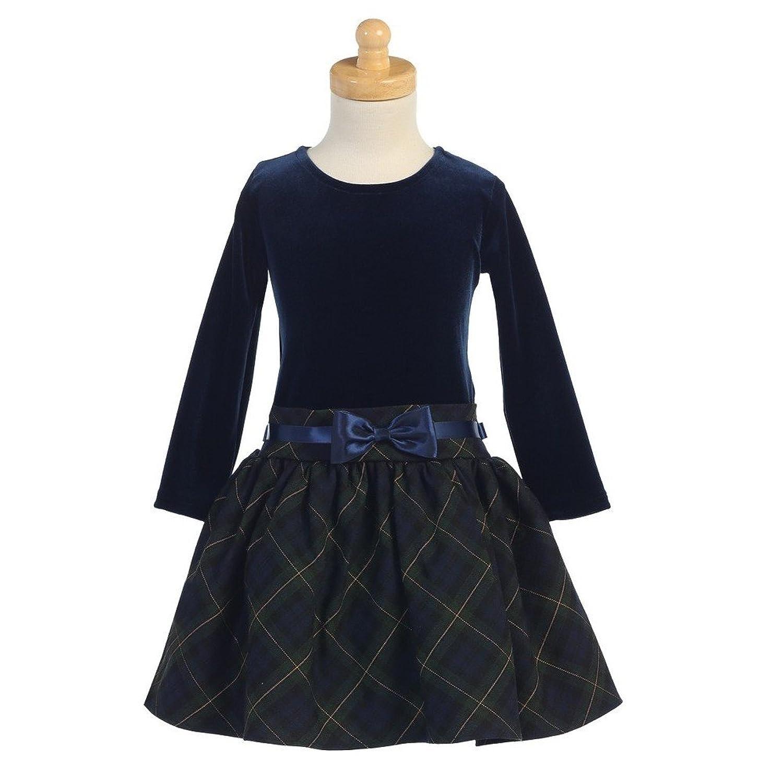 Blue christmas dress 4t - Amazon Com Lito Green Velvet Bodice Plaid Toddler Girl Christmas Dress 2t 4t Clothing