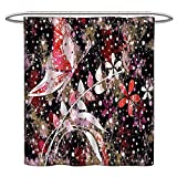 Jiahonghome Mildew Resistant Long Shower Curtain Butterflies Leaves Flowers Insects Murky Spring Inspirational