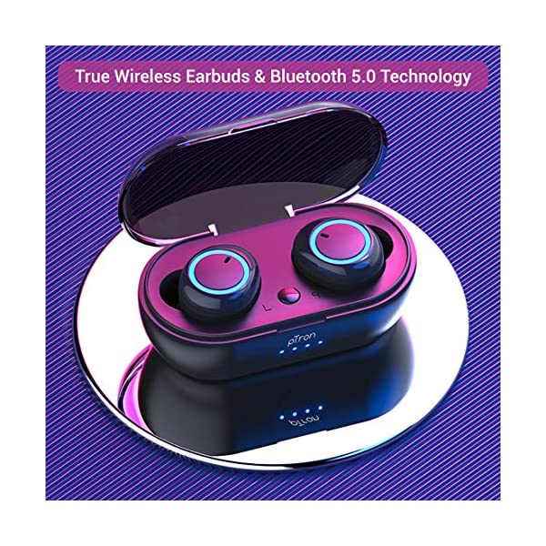 61Ao2jGlezL pTron Bassbuds in-Ear True Wireless Bluetooth 5.0 Headphones with Hi-Fi Deep Bass, 20Hrs Playtime with Case, Ergonomic Sweatproof Earbuds, Noise Isolation, Voice Assistance & Built-in Mic - (Black)