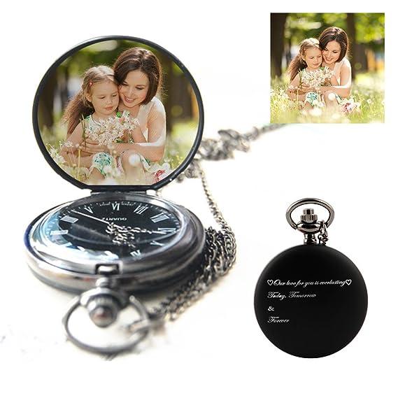 Reloj de bolsillo personalizado reloj de bolsillo personalizado de cuarzo grabado con cualquier palabra y foto, un gran regalo para el día del padre, ...