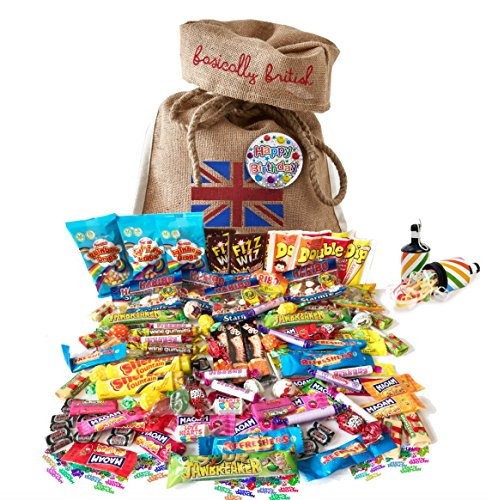 British Retro Nostalgic 100 Pieces Birthday Candy Assortment by The Yummy Palette | Fizz Wizz, Maoam Stripes, Haribo, Rainbow Drops in Basically British Burlap Bag with Birthday badge and - Retro Sweet