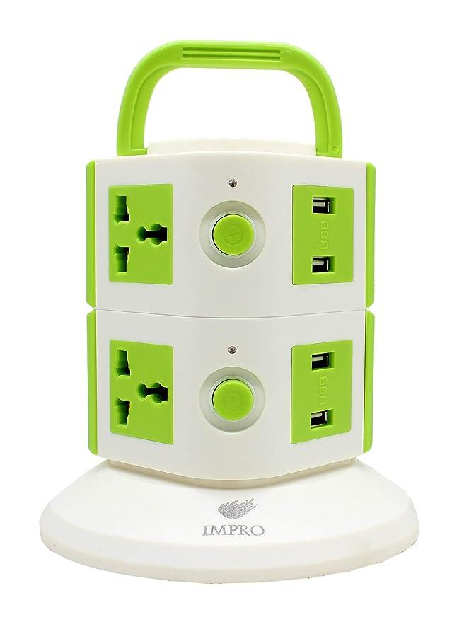Impro 6 Plugs + 4 USB Power Sockets Tower  2 Floors    Universal Sockets Tower Spike Buster Guard
