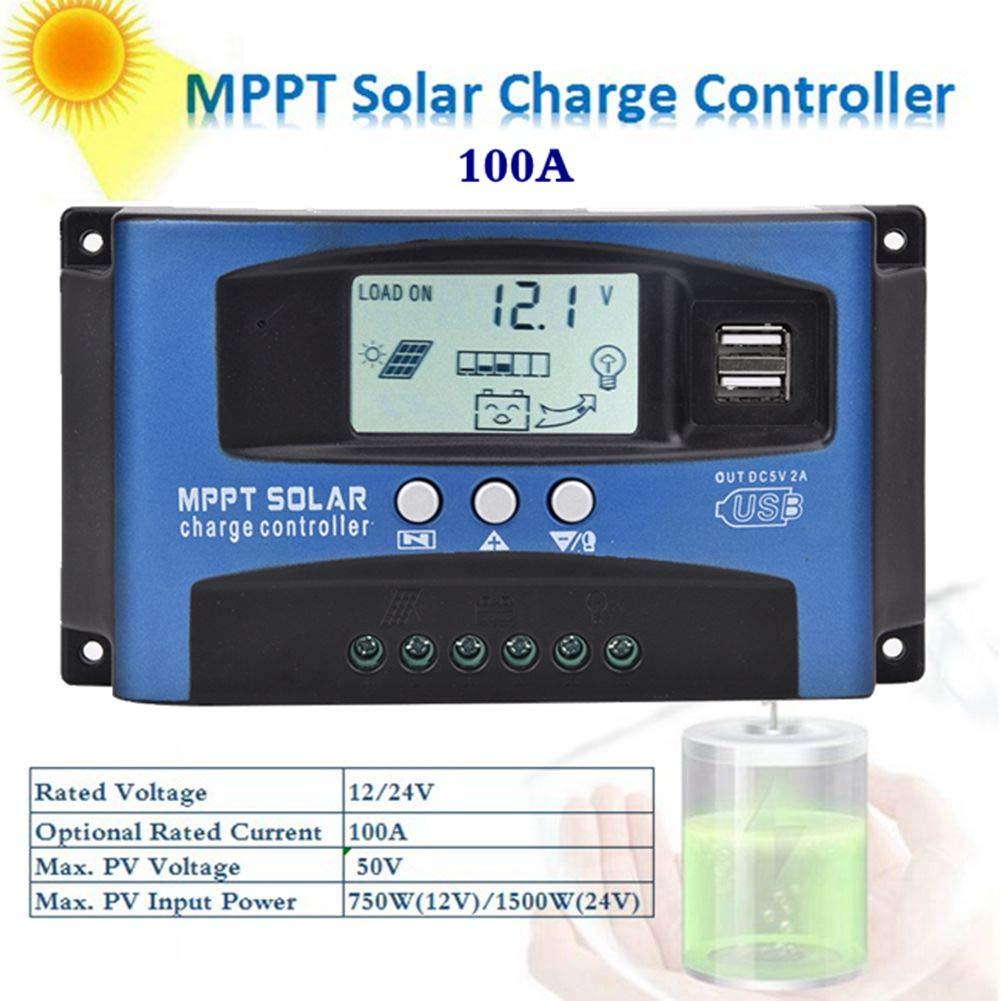 Controlador de carga solar, 12V/24V 30-100A Regulador de panel solar MPPT, Seguimiento de enfoque automático, gestión de carga trifásica, tubo MoS bidireccional anti-reflujo(100A)