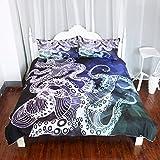 Arightex Octopus Duvet Cover Geometric Design 3D Octopus Bedding Set Nautical Ocean Blue Bed Linen Duvet Cover Set (Queen)