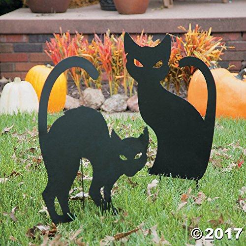 Spooky Silhouette Shadow Cat Garden Metal Stake Fall Spooky Haunted House Yard Halloween (Silhouette Of Halloween Cat)