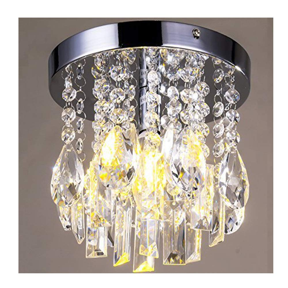 Mini style 1 light flush mount crystal chandelier chip style amazon com