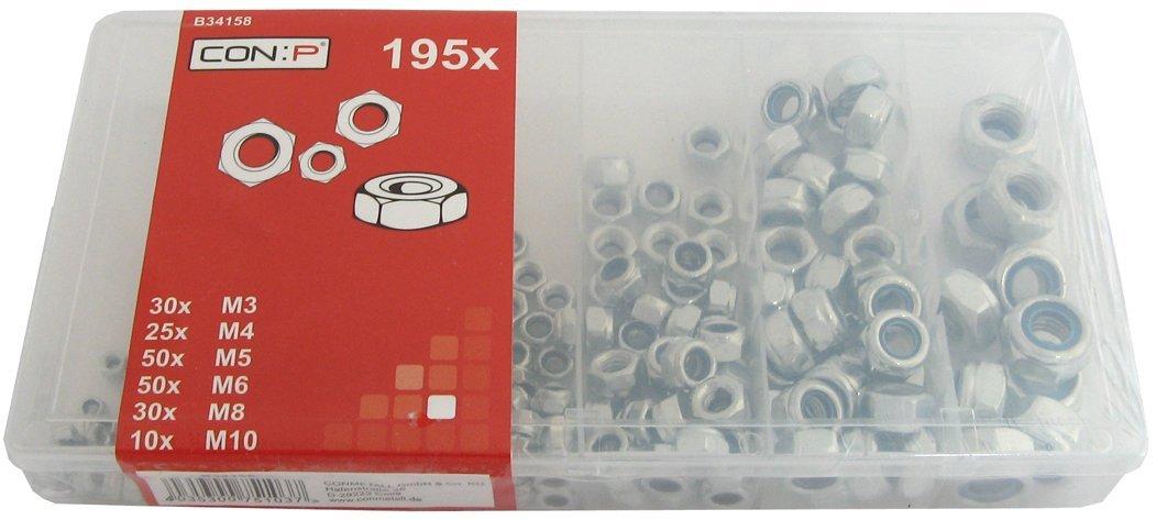 CON:P BB34158 195 pezzi Set di dadi bloccanti assortiti