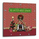 3dRose Beverly Turner Christmas Design - Christmas Room, Fireplace, Tree, Toys, Seasons Greetings - 15x15 Wall Clock (dpp_267931_3)