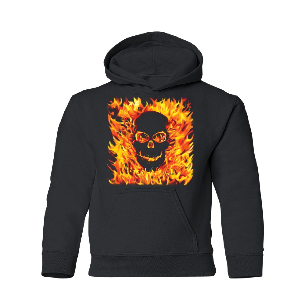 Burning Evil Skull Flames Youth Hoodie Brand New Sweatshirt Black Youth Small by Zexpa Apparel (Image #1)