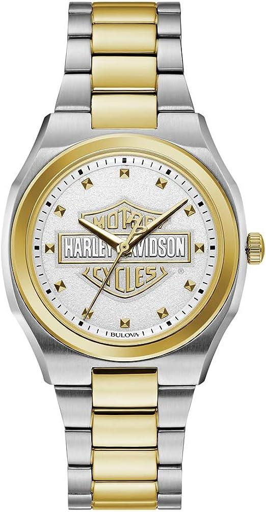 Harley-Davidson Bar & Shield 78L129 - Reloj de mujer de acero inoxidable dorado y plateado