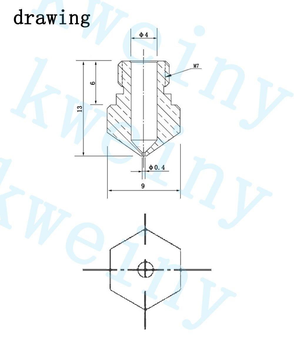 MYBF MK10 Nozzle 24Stk Extruder D/üse f/ür 3D-Drucker Kompatibel mit M7 Gewinde 1,75 Filament z. B. Flashforge Finder//Creator - Monoprice Select Mini V2 - Anet a8- qidi tech 3D Drucker