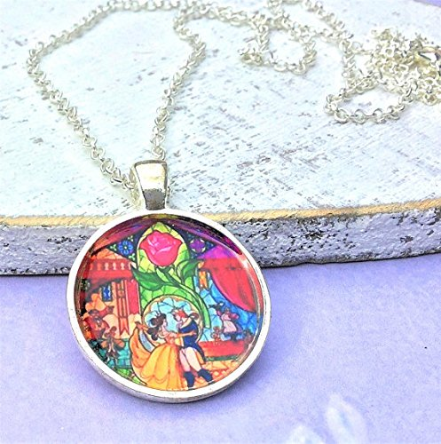 - Beauty and The Beast Enchanted Rose Necklace ~ Belle Silver Glass Dome Pendant Disney Gift Costume Jewelry Jewellery