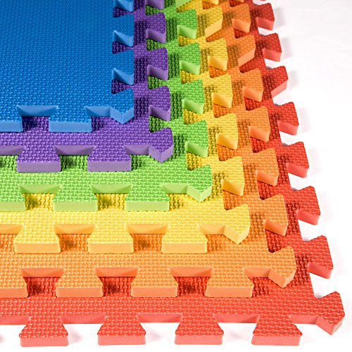 (IncStores - Rainbow Foam Tiles (18 Pack) - 2ft x 2ft Interlocking Foam Children's Portable Playmats )