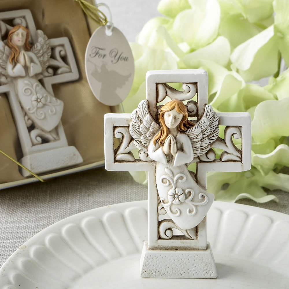 50 Magnificent Cross Statues with Raised Praying Angel Religious Favors