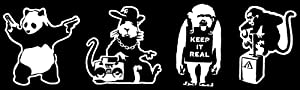 Panda with Guns, Gangsta Rat, Keep it Real, Monkey Detonator Decals White