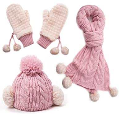 364760fd338 Evalent 3 in 1 Women Christmas Soft Warm Thick Velvet Cable Knitted Hat  Scarf   Gloves Winter Set Mitten (Pink) at Amazon Women s Clothing store