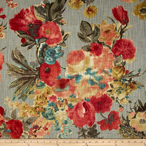 HGTV Home Garden Odyssey Slub Fog Fabric By The Yard Floral Curtain Fabric