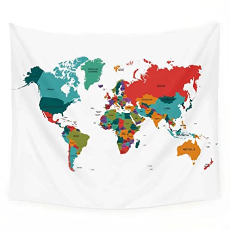 Amazon colorful world map tapestry wall hanging art bedspread colorful world map tapestry wall hanging art bedspread dorm tapestry home decor51quotx59quot gumiabroncs Images