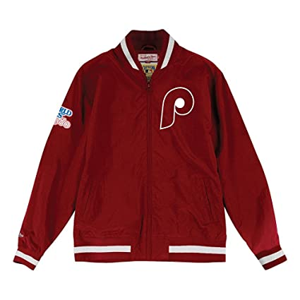 88e1ad2e418 Philadelphia Phillies MLB Mitchell   Ness Red  quot Team History quot   Vintage Warm Up Jacket