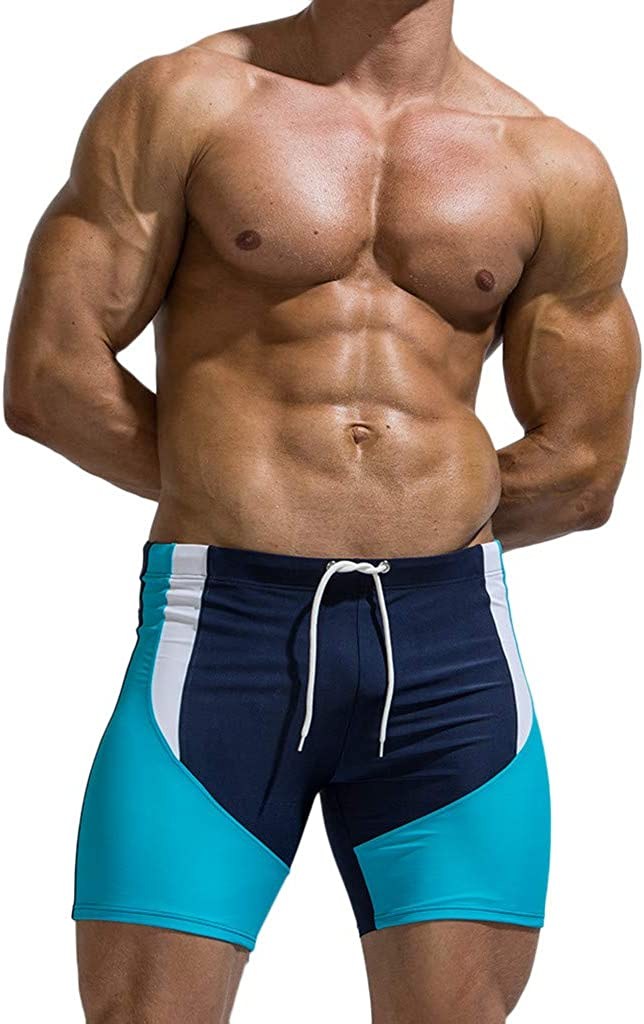 F/_Gotal Mens Swim Trunks Quick Dry Cotton Breathable Bulge Briefs Swimming Shorts with Pockets Beach Swimwear Bathing Suits