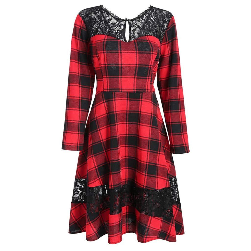 Lenfesh Vintage Damen Kleid, Plus Size Vintage Casual Langarm Pin Up Kleid Rot Kariertes Spitze Partykleid Cocktaikleid Festlich Partykleid
