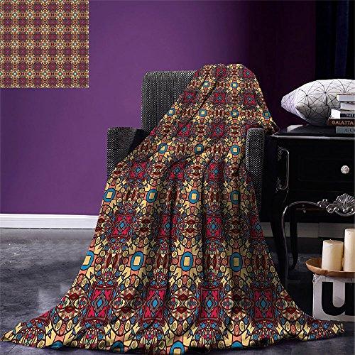 smallbeefly Vintage Digital Printing Blanket Bohem Arabian Arabesque Ethnic Eastern Image with Vivid Geometric Details Artwork Summer Quilt Comforter Multicolor by smallbeefly