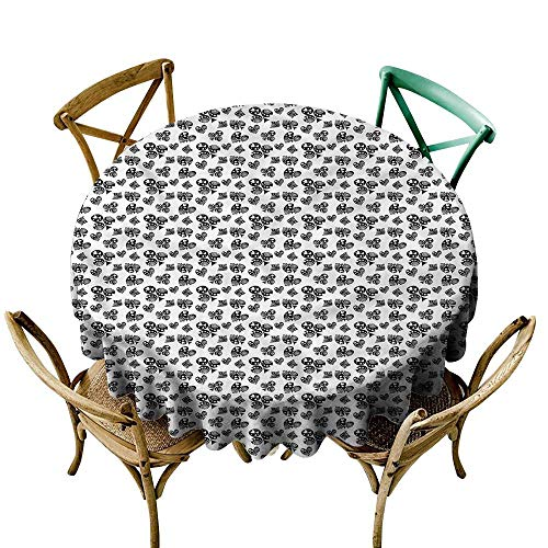 (LsWOW 54 Inch Round Outdoor Round Tablecloth Poker Monochrome Ornamented Signs Great for Bar & More)