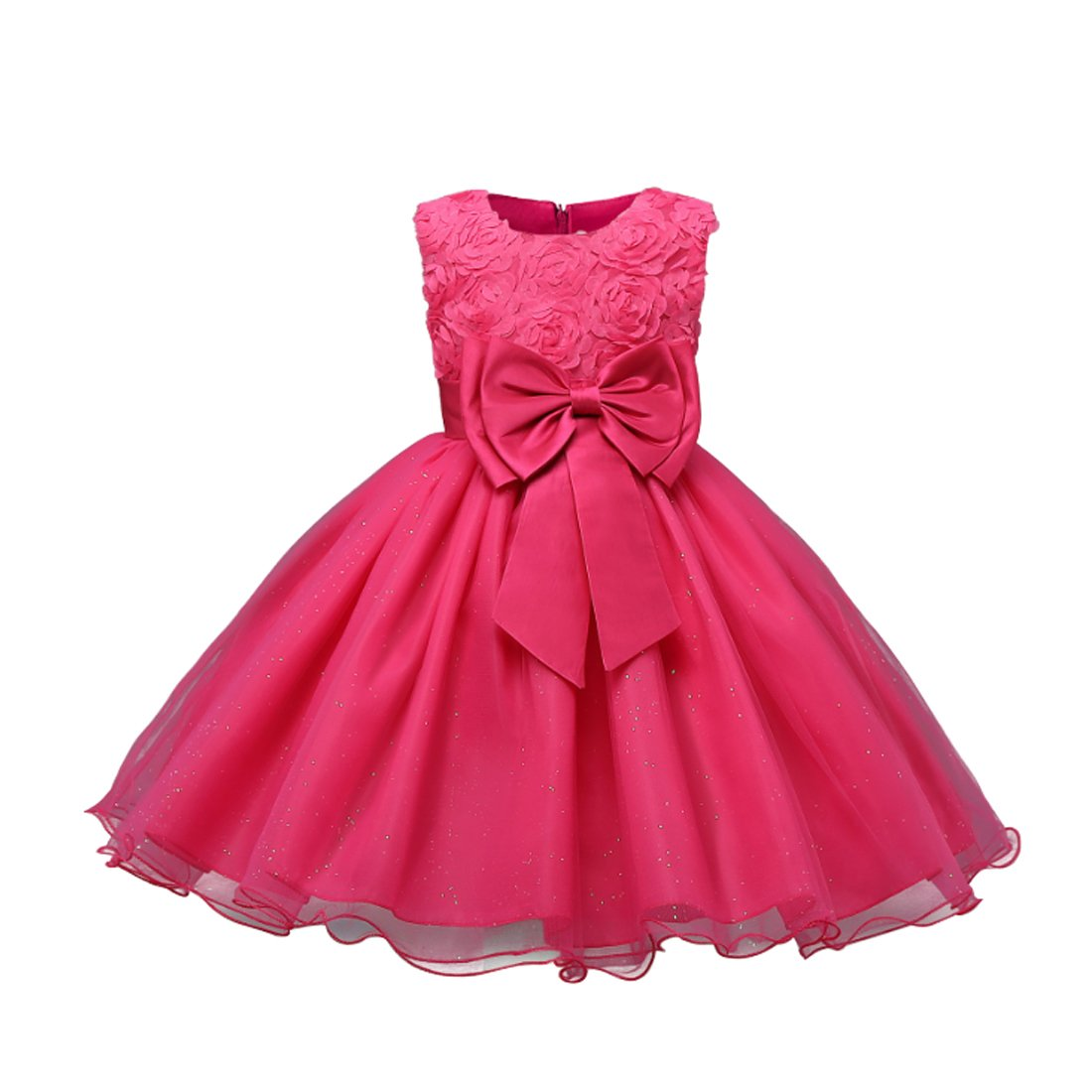 Inlefen Girls Party Dress Flower Girl Dress Bow Tie Belt Wedding Festa di compleanno Abiti per bambini Abiti