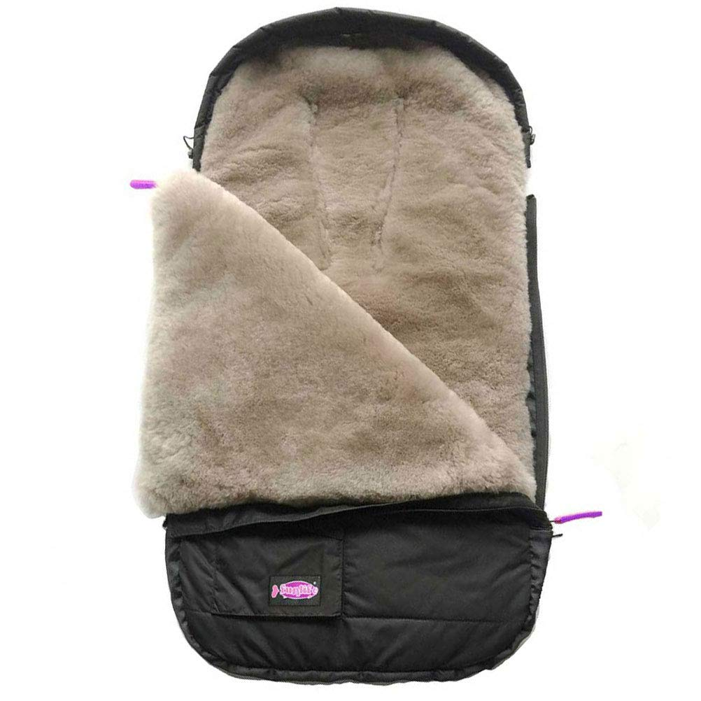 Superme Australian Lambskin Footmuff Universal Fits All Type of Stroller Pushchair Jogger, Water Wind Proof Shell With Grey Sheepskin Lining, Use for 0-36 Monthes Baby