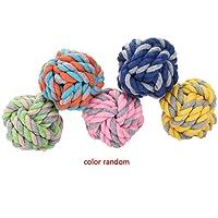 8cm Medium Size Pet Dog Braided Cotton Rope Knot Ball Chew Toys Teeth Cleaning Ball Random Color Koalcom